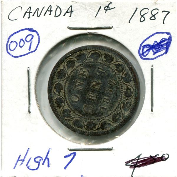 Large One Cent 1887 Coin