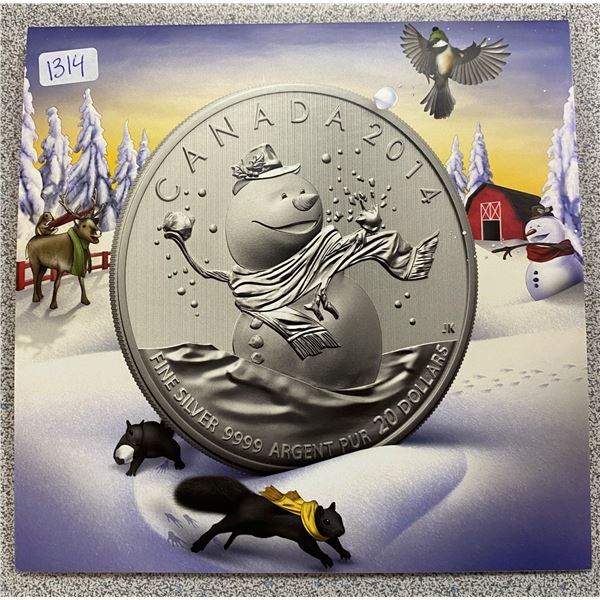 Sterling Silver Snow Man Coin