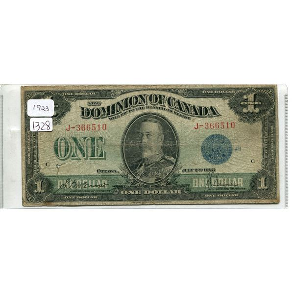 1923 Canadian $1.00 One dollar