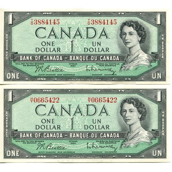 2X 1954 Canadian $1.00 One Dollar bills