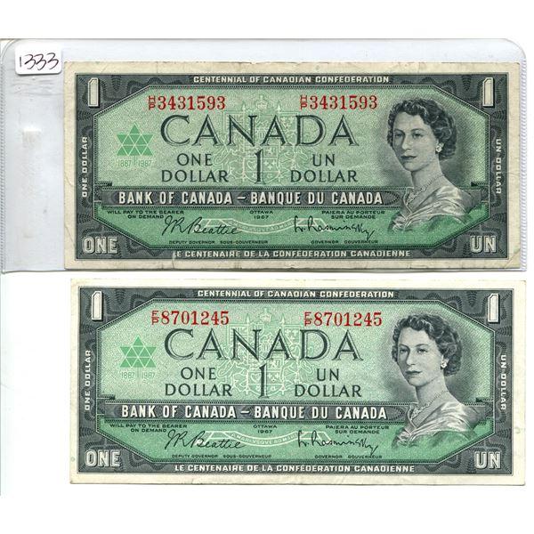 2X 1967 Canadian $1.00 One dollar bills