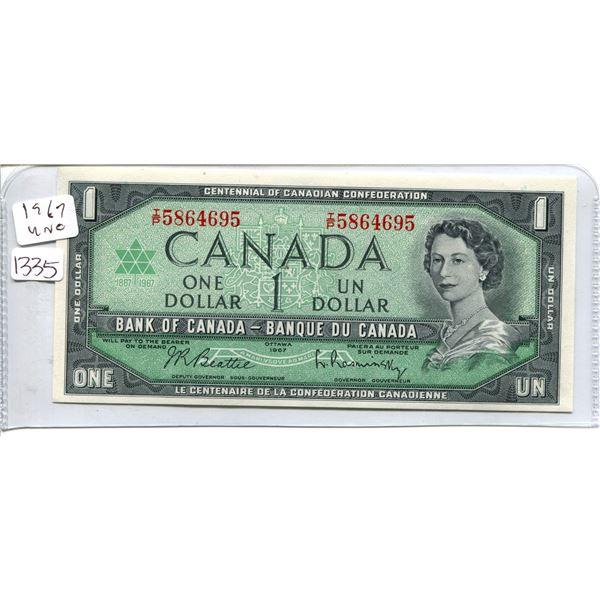 1967 Canadian $1.00 One dollar - unc