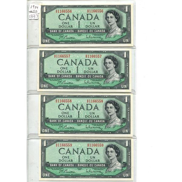 4X 1954 unc Canadian $1.00 One dollar bills
