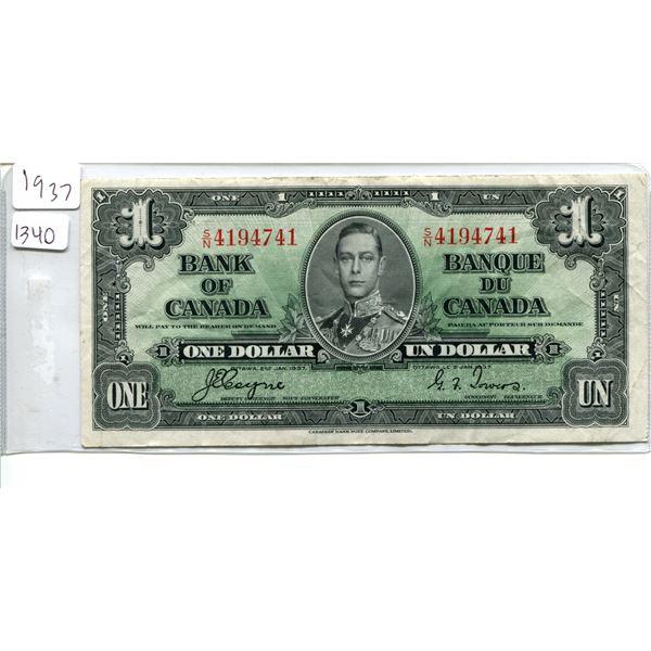 1937 Canadian $1.00 One dollar bill