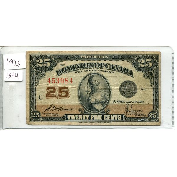 1923 Dominion of Canada 25¢ twenty five cent shinplaster