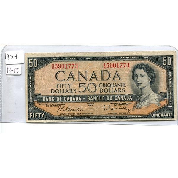 1954 Canadian $50.00 Fifty Dollar bill