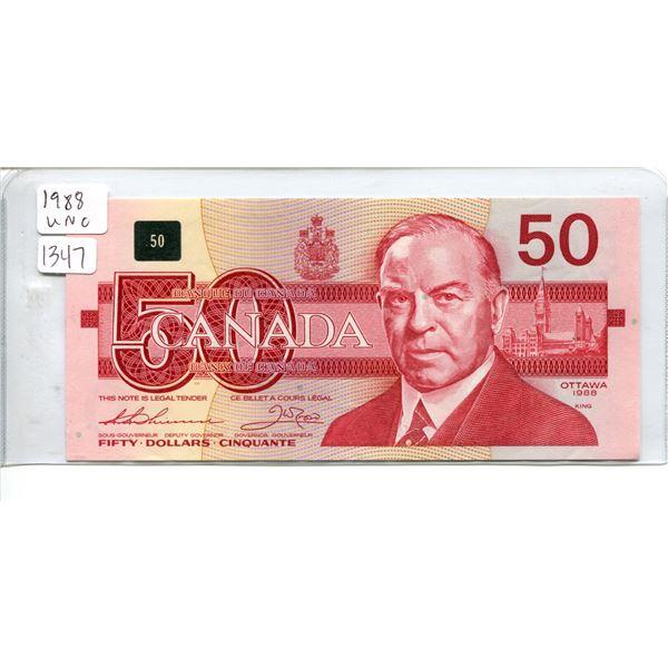 1988 unc. Canadian $50.00 fifty dollar bill