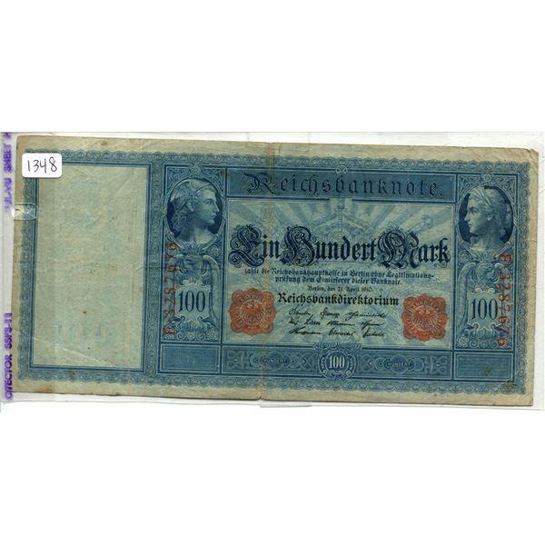 Reichsbanknote old German bill