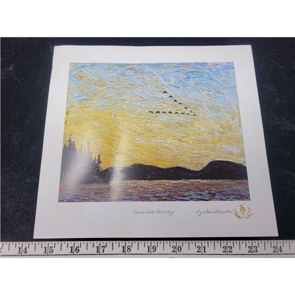"Print signed by artist ""Tom Thompson"" Round Lake, Mud Bay"