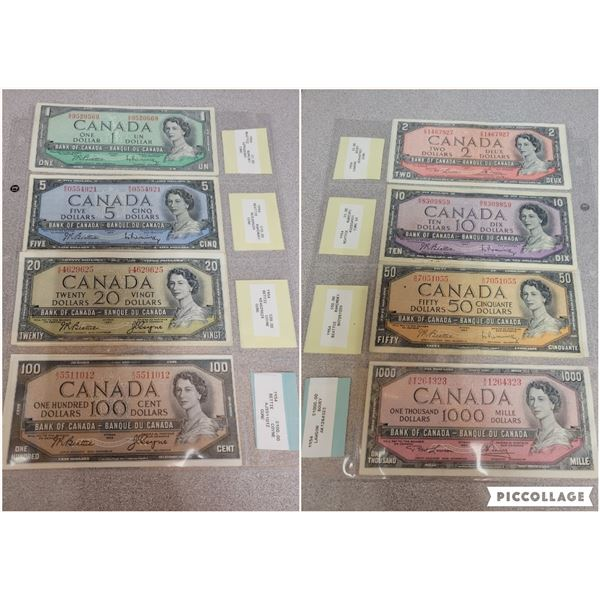 Complete set of 1954 Canadian bills $1.00 - $1000.00 various sugnatures & grades