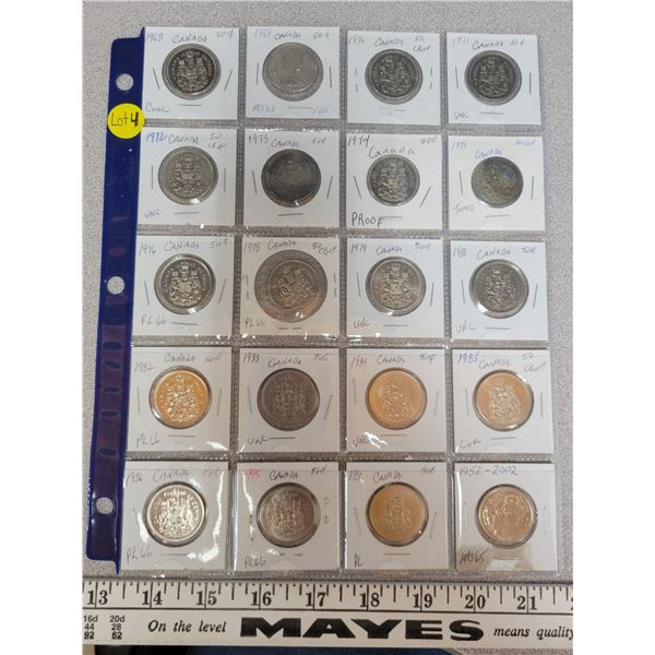 1 sheet of Canadian 50¢ lot of 20 various dates & grades