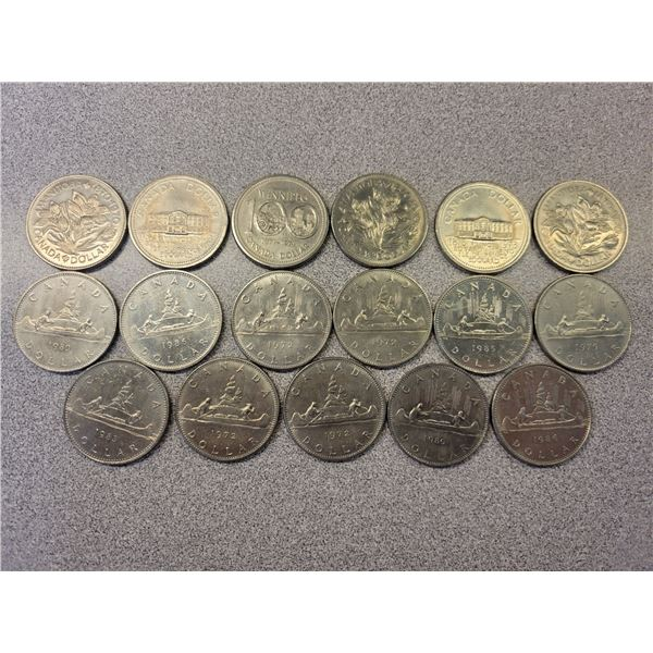 Canadian nickel dollars sheet of 17 various dates & grades