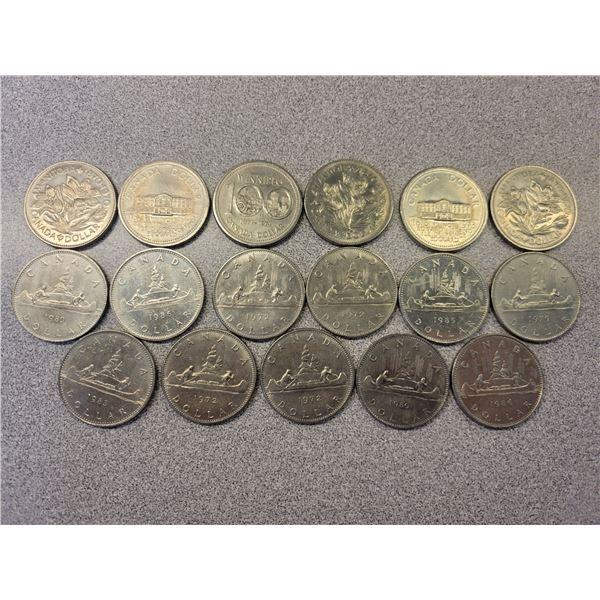 Canadian nickel dollars sheet of 17 various dates & grades