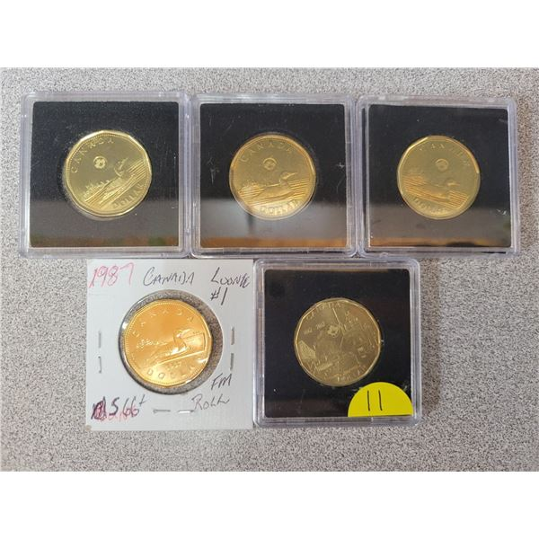 (5) Canadian Loonies Various Dates And Grades