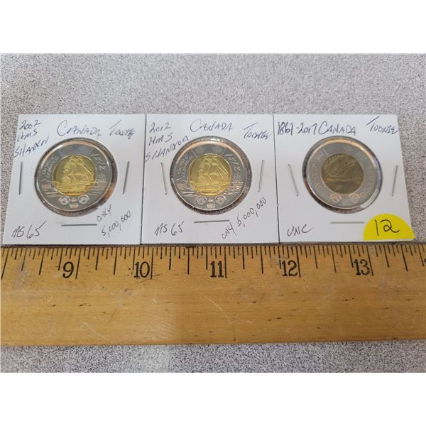 (3) Canadian Toonies 2x2012 + 2017 from uncirculated packages, low mintage