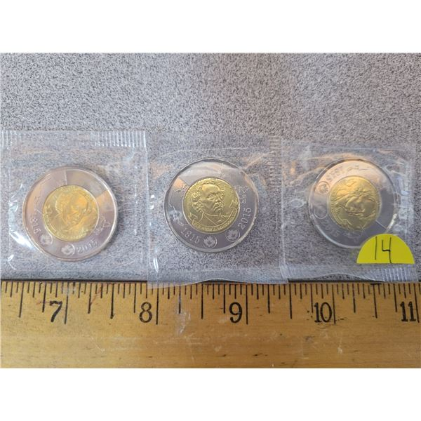 (3) Canadian Toonies 3x2015 - MS uncirculated in plastic holders from mint