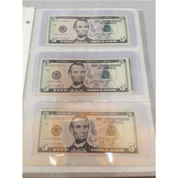 Book Of American Sequential $5.00 Bills Lot Of 5 (2013)