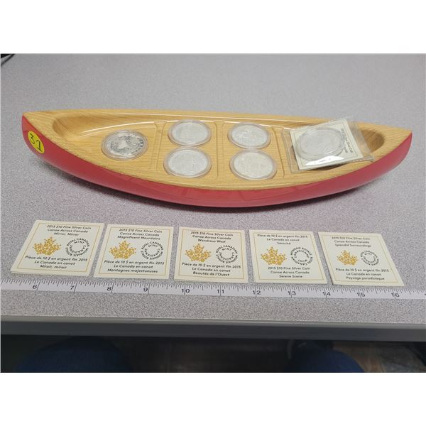 2015 Canoe Across Canada $10 fine silver coin set 6 coin series with display canoe