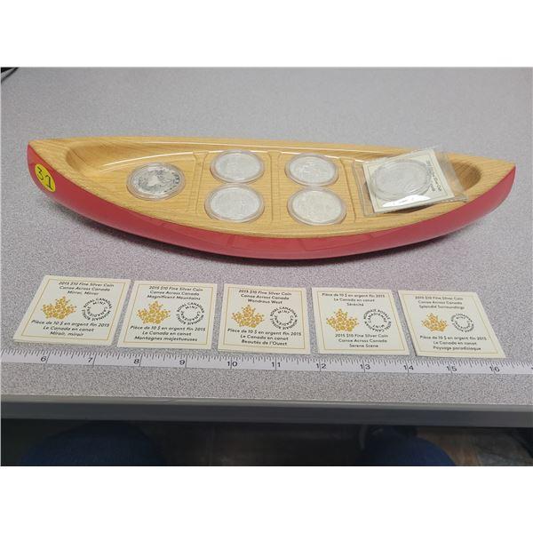 2015 Canoe Across Canada $10 fine silver coin set 6 coin series with display canoe
