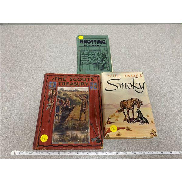 "Lot Of 3 Books ""Knotting"" + ""The Scouts Treasury"" + ""Will James Smokey"""