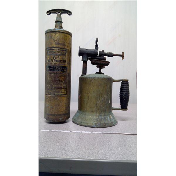 Brass fire extinguisher + brass blow torch