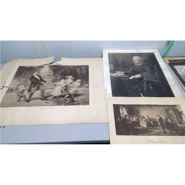 3 piece print (rough condition) a tug of war, a dames school,unknown