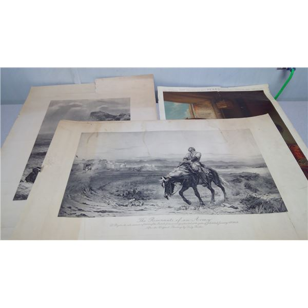 3 piece print ( The remnants of an army) (shoeing the bay mare) (unknown)