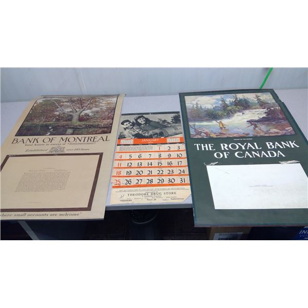 3 piece calendar,bank of Montreal the Royal bank of Canada,Theodre drug store not finished