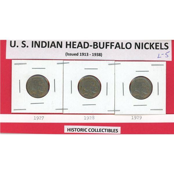 US Indian head Buffalo 5¢ 1927, 1928, & 1929