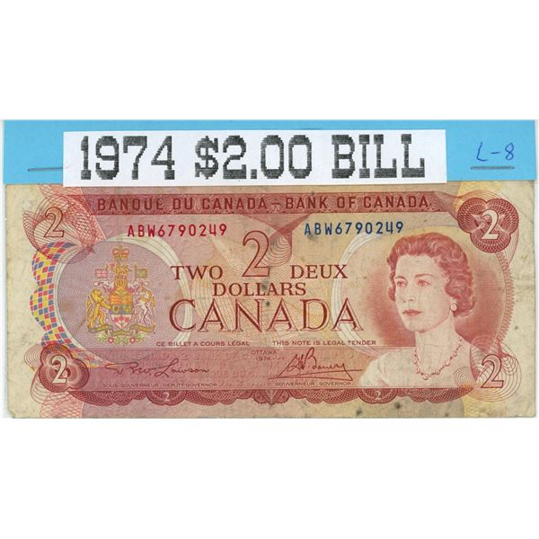 1974 Canadian 2 dollar bank note