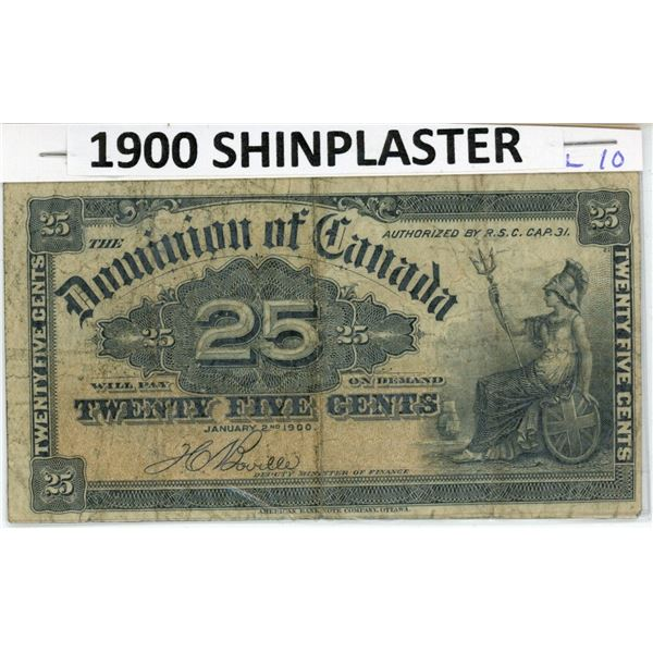 1900 Canadian Shinplaster- 25¢ banknote- Historic collectible, seldom offered