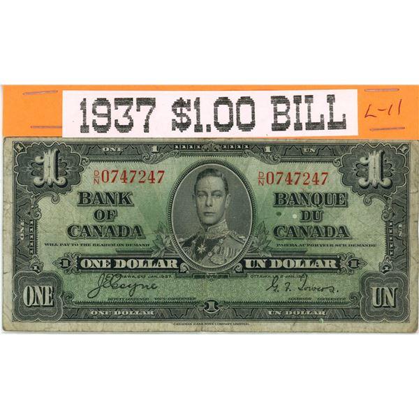 1937 cCanadian $1 banknote- King George VI