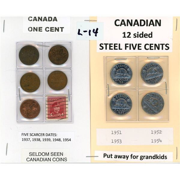 Five scarcer dates Canadian one cent & 4-12 side Canadian 5¢