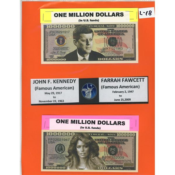 US One Million Dollars John F. Kennedy & Farraw Fawcett