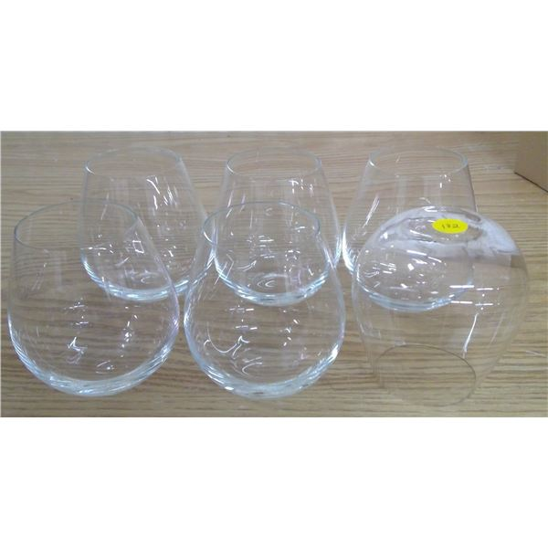 set of 6 wine glasses stemless for red wine