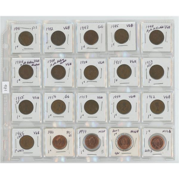 Sheet of 20 assorted pennies