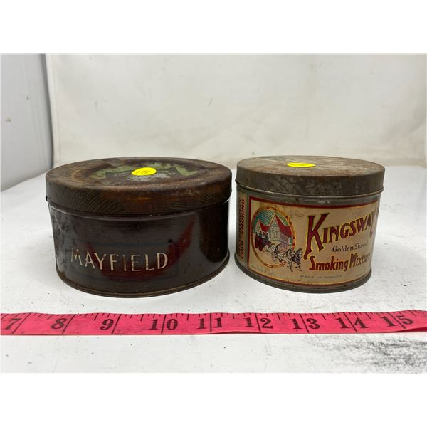 Kingsway tobacco tin & Mayfield tobacco tin w/ ashtray top
