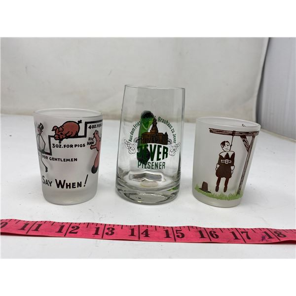 Glasses-2 Comical Drinking Glasses + Small Beer Stein