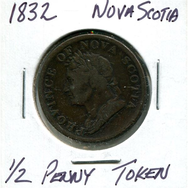 1832 Nova Scotia 1/2 penny token