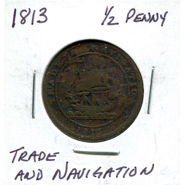 1813 Trade & Navigation 1/2 penny