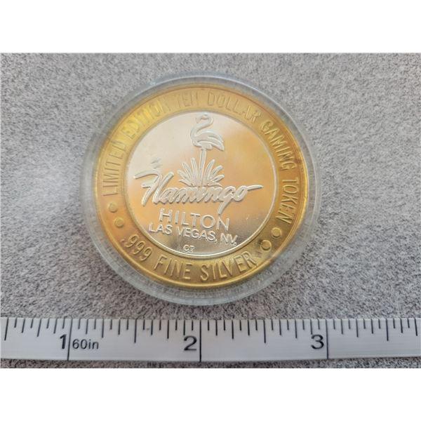 .9999 fine silver flamingo casino token