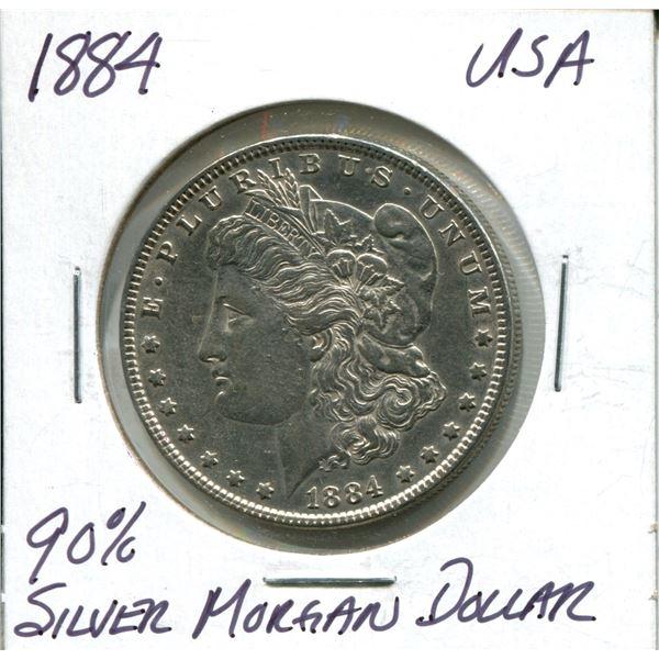 1884 90% silver morgan dollar