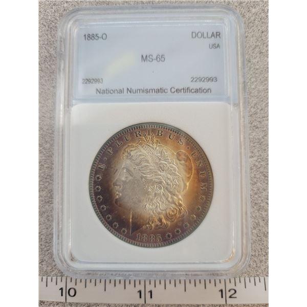1885 MS-65 Morgan silver dollar