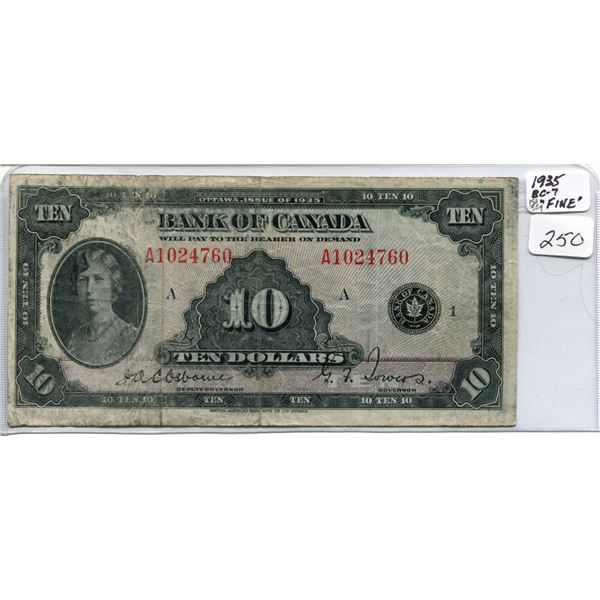 1935 Princess Mary ten dollar bill