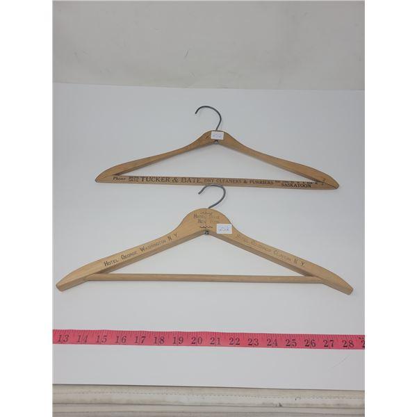 2 old advertising hangers, wooden. Tucker & Bate dry cleaners/furriers Saskatoon, SK & Hotel adverti