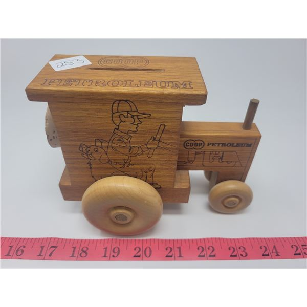 Wooden CO-OP toy tractor coin bank, Toystalgia 1979