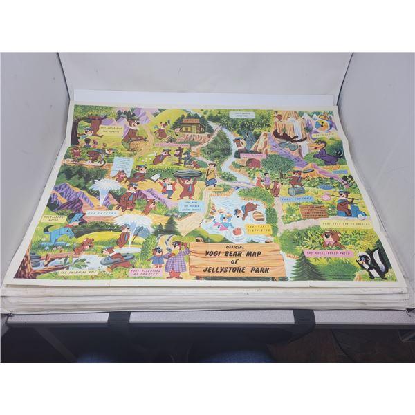 "1961 Lithograph Hanna-Barbera Yogi Bear map of jellystone park 29 X 21"""