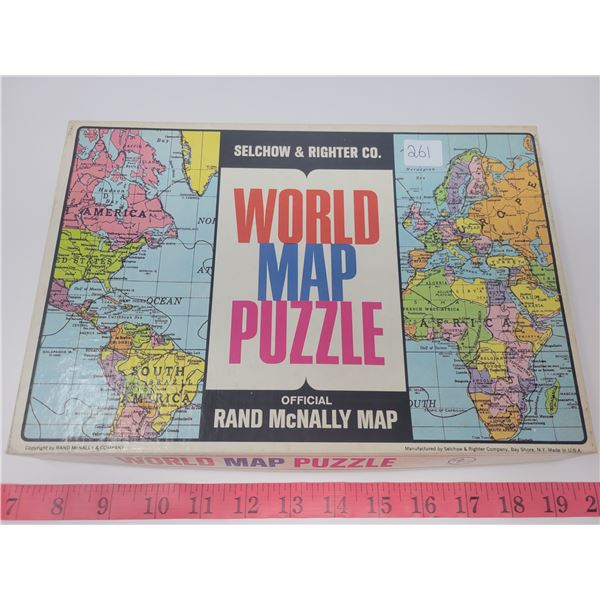 Vintage Rand McNally world map puzzle; Selchow & Righter co. - Complete