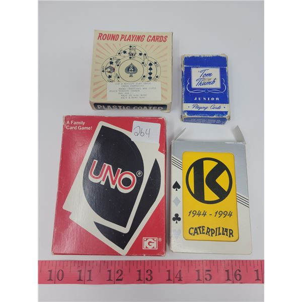 card games lot - Uno, round playing cards, Caterpillar, tom thumb cards.