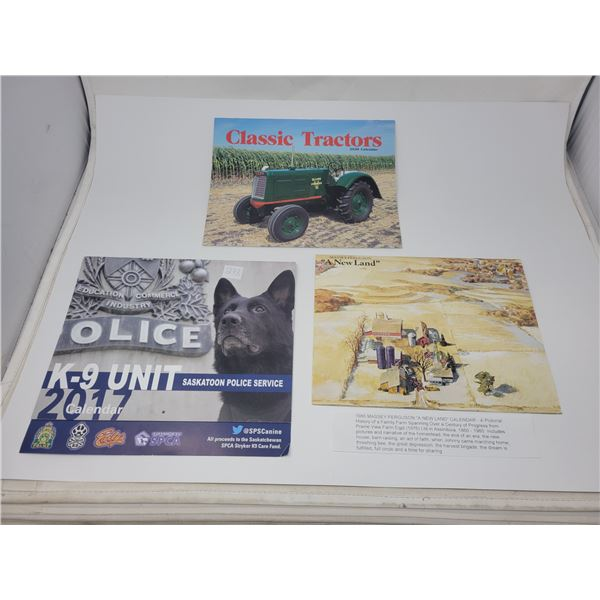 1980 Massey-Ferguson calendar, 2017 Saskatoon Police K9 calendar, 2020 Classic Tractors calendar